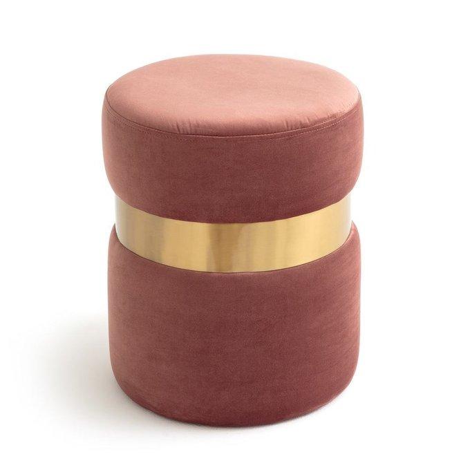 Пуф велюровый Luxore розового цвета