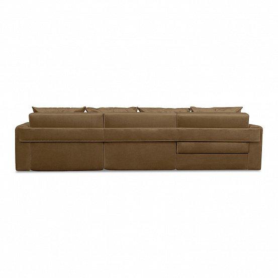 Угловой диван-кровать Мэдисон Лувр коричневого цвета большой