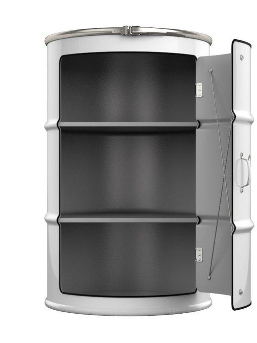 Бочка-шкаф с дверью и полками Chanel XL белого цвета