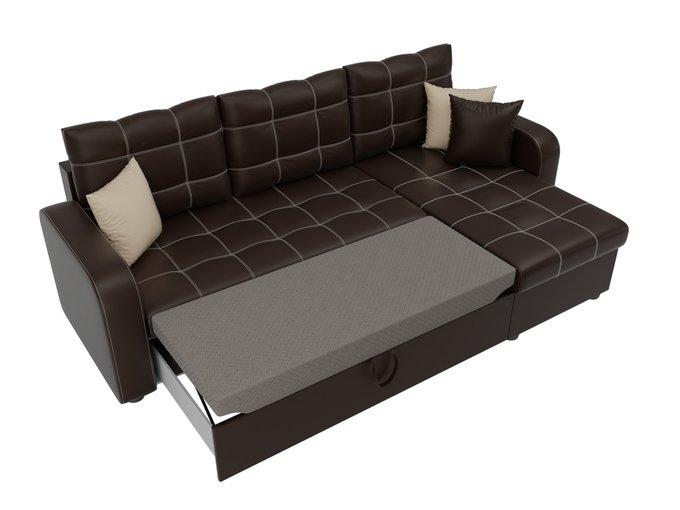 Угловой диван-кровать Ливерпуль коричневого цвета (экокожа)