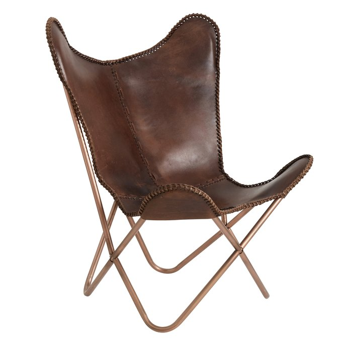 Кресло Butterfly из коричневой кожи
