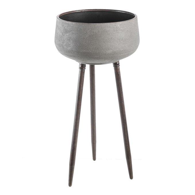 Металлическое кашпо на подставке серого цвета
