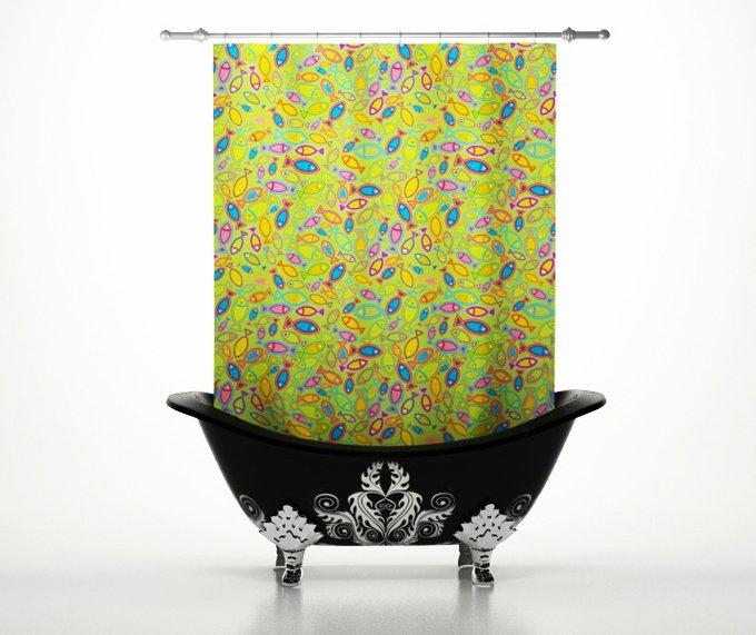 Шторы для ванной: Радужные рыбки