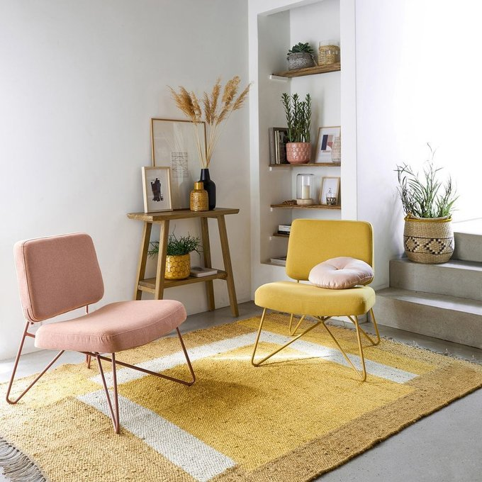 Кресло в винтажном стиле Koper розового цвета