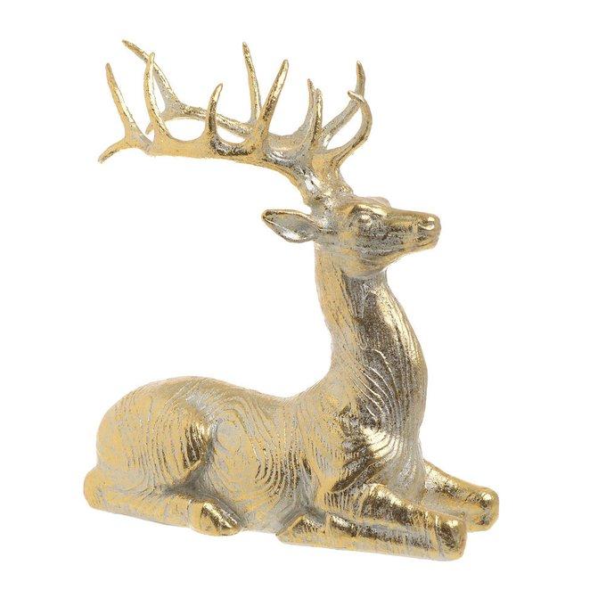 Декор настольный олень золотистого цвета