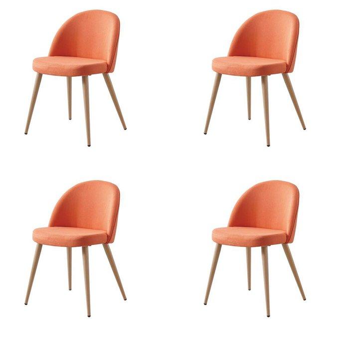Набор из четырех оранжевых стульев Томас с мягким сидением