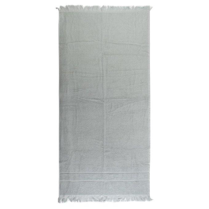 Полотенце банное с декоративной бахромой серого цвета