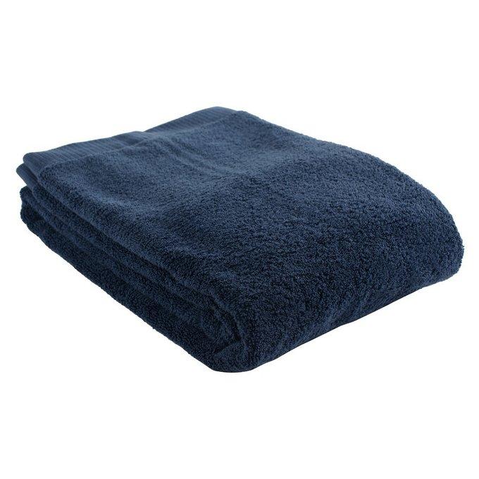 Полотенце банное из хлопка темно-синего цвета