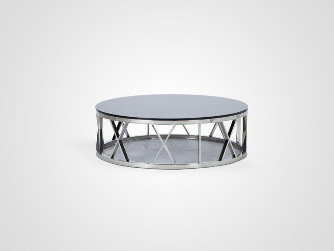 Стол кофейный круглый со столешницей из черного стекла