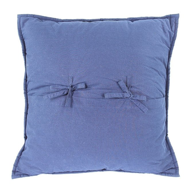 Чехол на подушку бархатный Хвойное утро темно-синего цвета