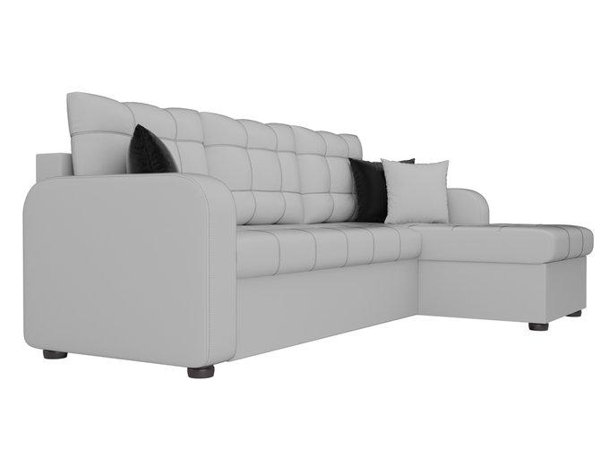 Угловой диван-кровать Ливерпуль белого цвета (экокожа)