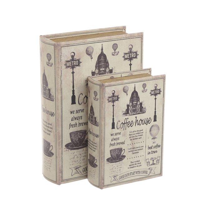 Набор из двух шкатулок-книг бежевого цвета