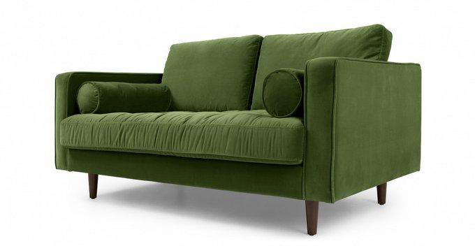 Диван двухместный Lucia в обивке из велюра темно-зеленого цвета