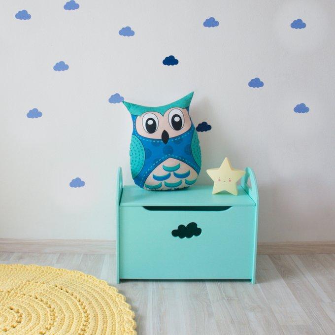 Детский сундук для игрушек бирюзовый с облачком