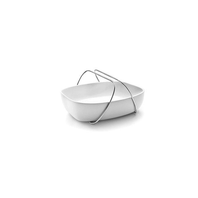 Блюдо керамическое с ручками малое белое