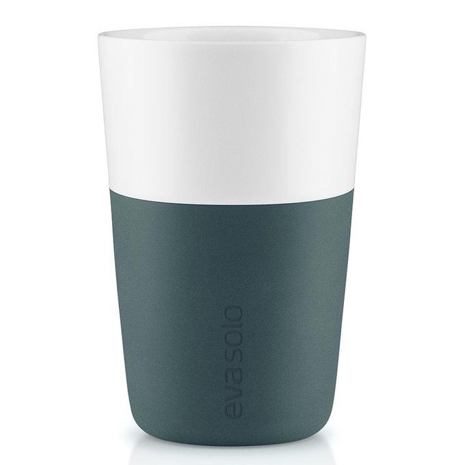 Набор из двух чашек для латте с силиконовым чехлом бирюзово-синих