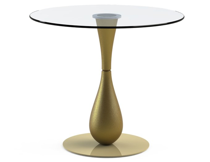 """Обеденный стол """"FLOS Gold"""" с круглой столешницей из закаленного стекла"""