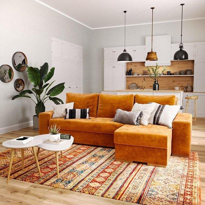 Угловой диван-кровать Матиас оранжевого цвета