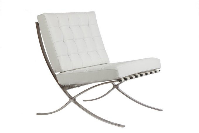 Кресло Barcelona Chair White Premium Leather