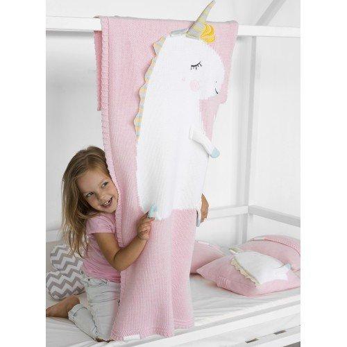 Плед Единорог светло-розового цвета