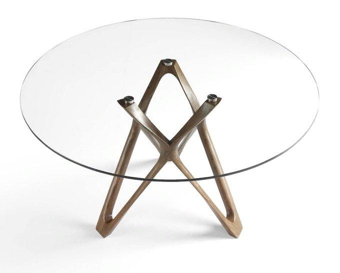 Обеденный круглый стол со стеклянной столешницей