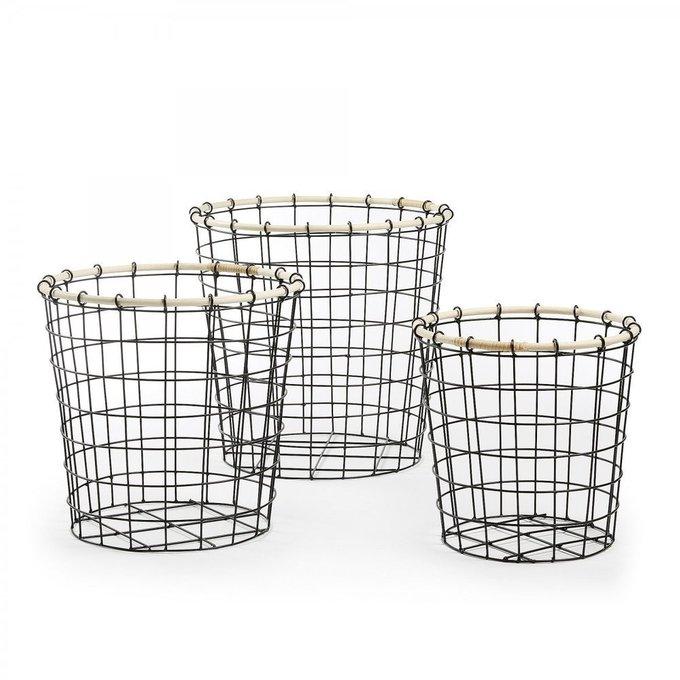 Набор из трех металлических корзин Kavor с плетеным верхним кольцом