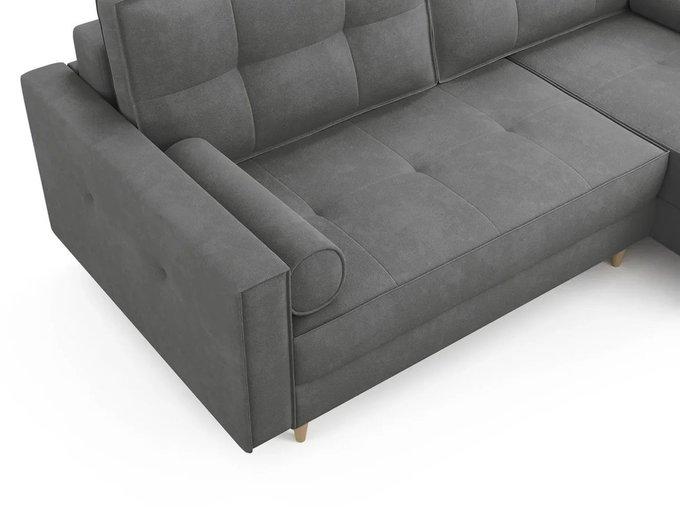 Угловой Диван-кровать ОТТО правый светло-серого цвета