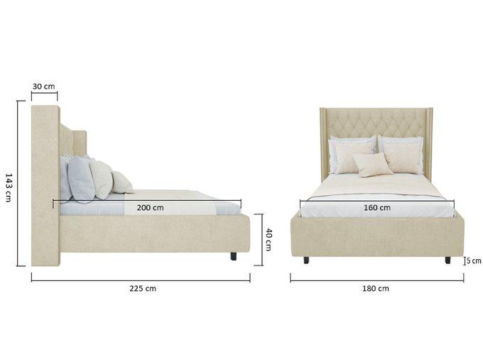 """Кровать с декоративными гвоздиками """"Wing"""" Лён Классический 160х200"""