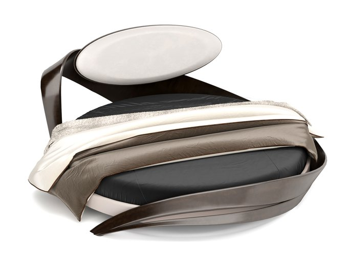 Кровать круглая Brazo бело-черного цвета диаметр 220
