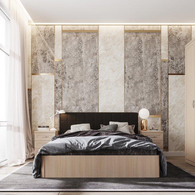 Кровать Магна 160х200 с темно-коричневым изголовьем и подъемным механизмом