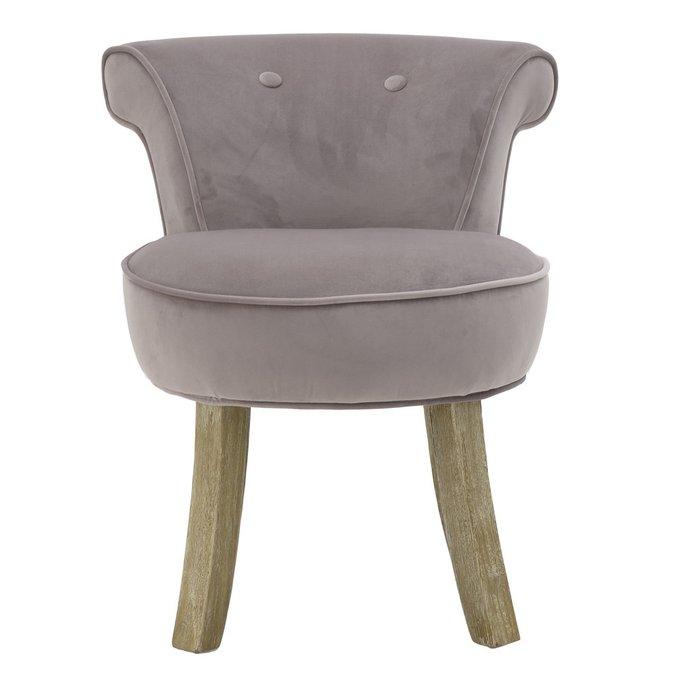 Кресло серо-розового цвета на деревянных ножках
