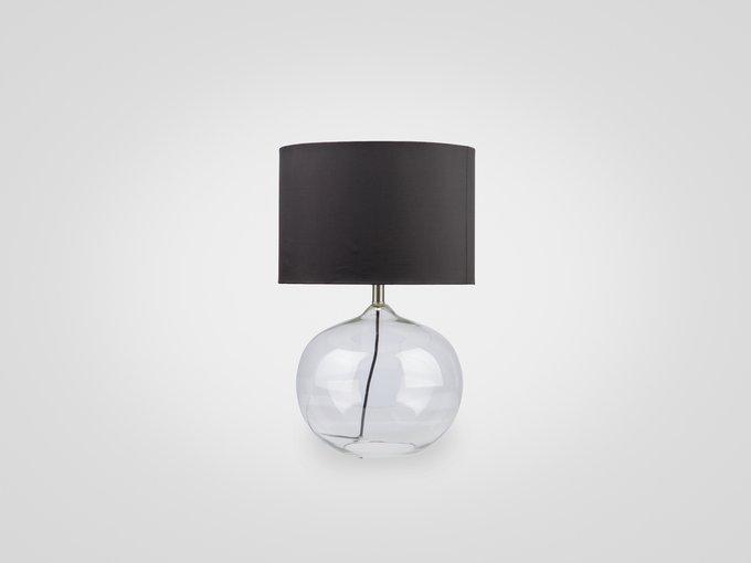 Лампа настольная на ножке из прозрачного стекла с черным абажуром