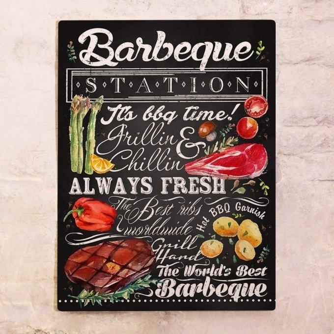 Металлический плакат BBQ