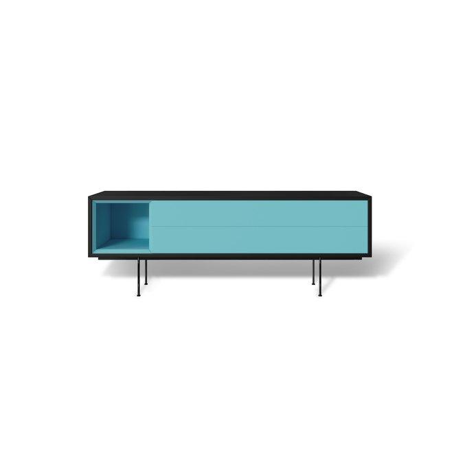 Тумба ТВ Quadro new с голубым фасадом