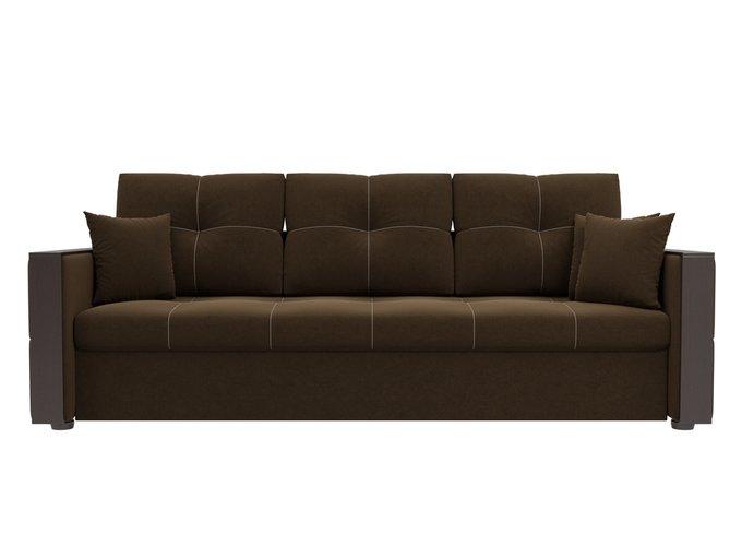 Прямой диван-кровать Валенсия коричневого цвета