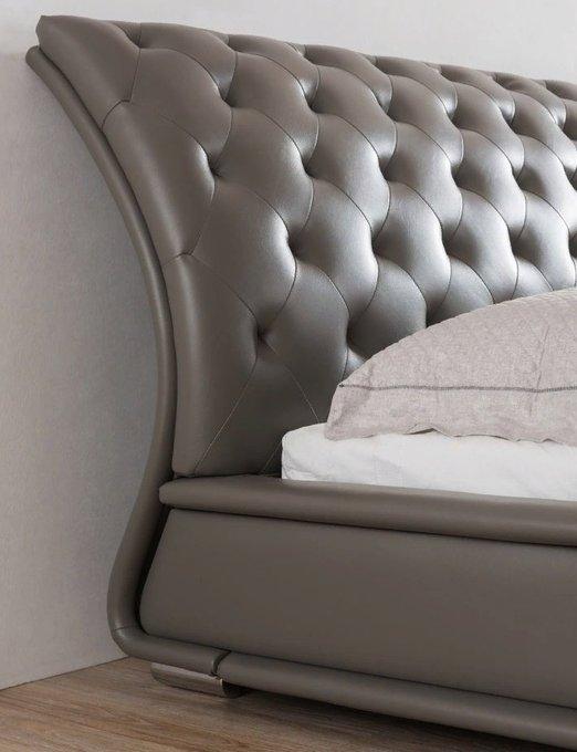 Кровать серого цвета с мягким изголовьем 160X200