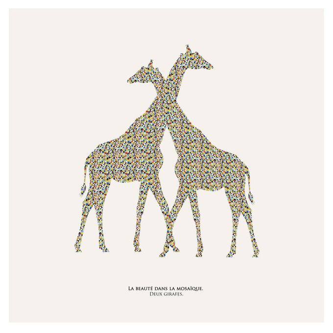 Картина (репродукция, постер): Жирафы в мозаике