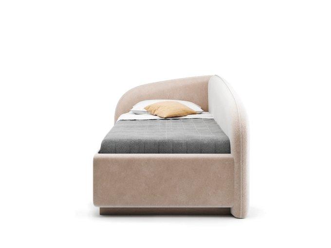 Кровать Amelia левая бежевого цвета с решеткой 90х190