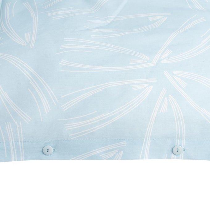 Пододеяльник двухсторонний голубого цвета с принтом Свежесть леса 200х200