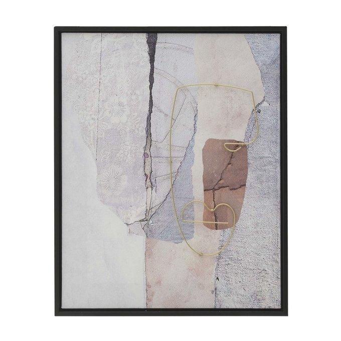 Картина на холсте с инсталляцией в раме Face 40х50