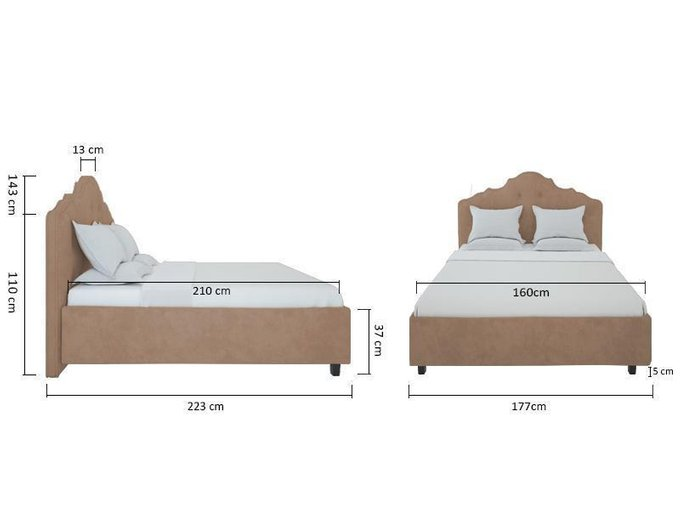 Кровать Palace Велюр Серо-коричневый 160x200
