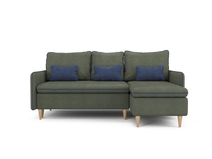 Угловой раскладной диван Ron правый темно-зеленого цвета