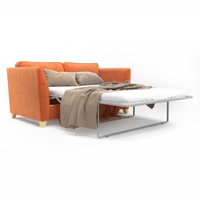 Двухместный раскладной диван Wolsly оранжевого цвета