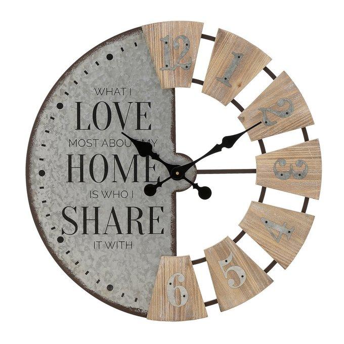 Настенные часы из металла и дерева