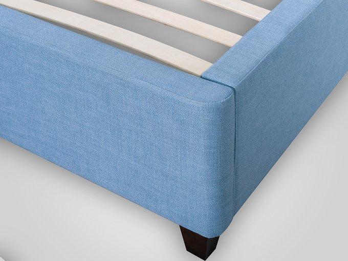 Кровать с обивкой из велюра голубого цвета 140X200