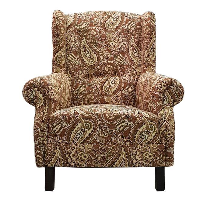 Кресло коричневого цвета с восточным орнаментом