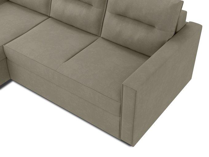 Угловой диван-кровать левый Macao серо-бежевого цвета