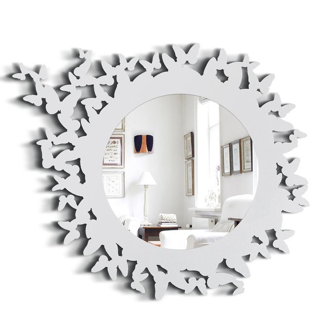 Зеркало Butterfly белого цвета