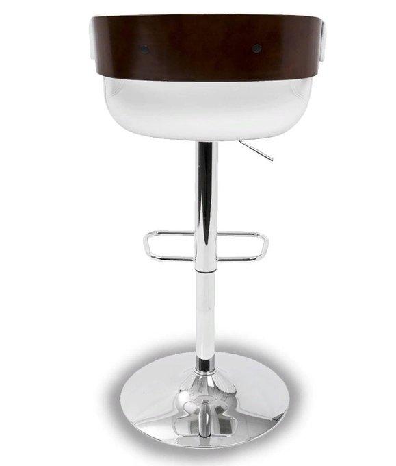 Барный стул с сидением из экокожи и шпона вишни