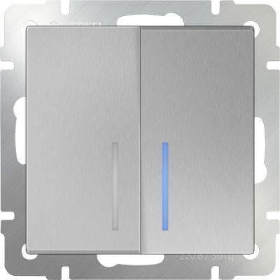 Выключатель двухклавишный с подсветкой серебряного цвета